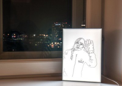 Untitled (Big Glove) light box drawing