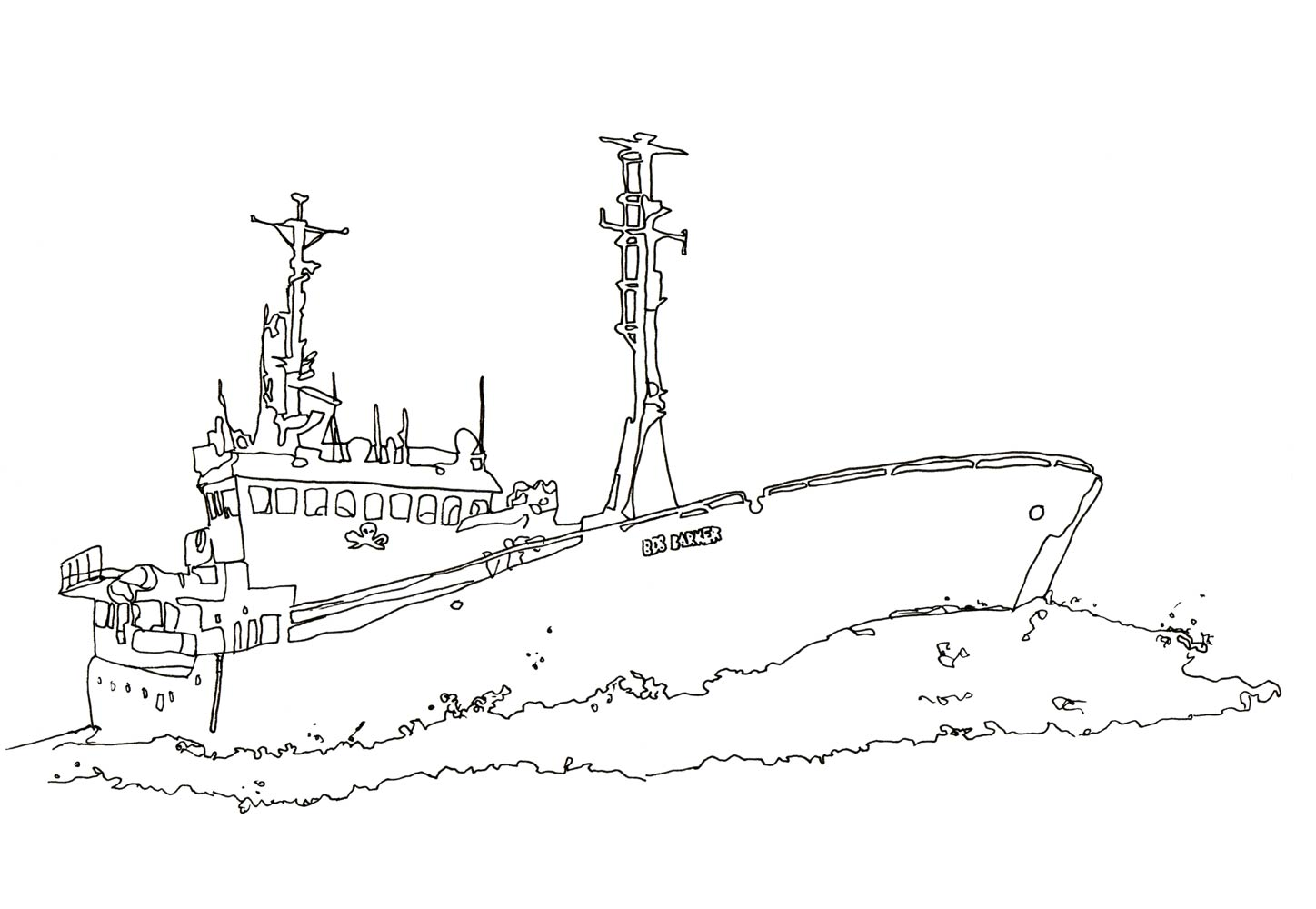 Line drawing of the Sea Shepherd ship Bob Barker by Anastasia Parmson