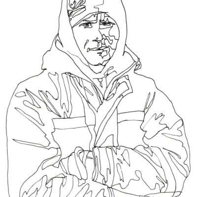 Line drawing portrait of a deckhand who means business