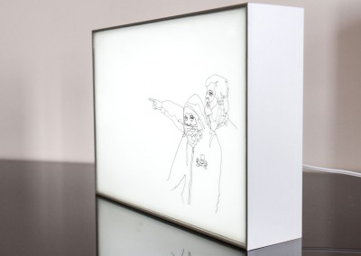 Light Box drawing as seen from the side: Drawing by Anastasia Parmson depicting herself and Sea Shepherd captain Paul Watson looking into the distance