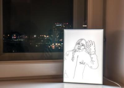 Untitled (Big Glove) light box drawing