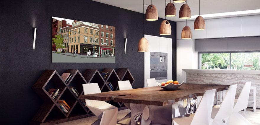 Anastasia Parmsons' West Village Scene artwork hanging in ultra modern rustic dining room