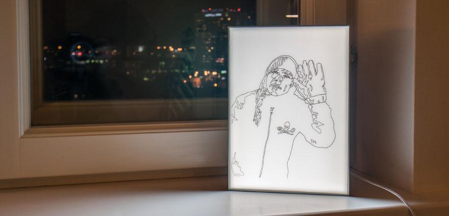 Untitled (Big Glove) lightbox drawing by Anastasia Parmson