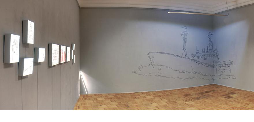 Panoramic view of Anastasia Parmson's solo exhibition at Rundum Artist-Run Space in Tallinn