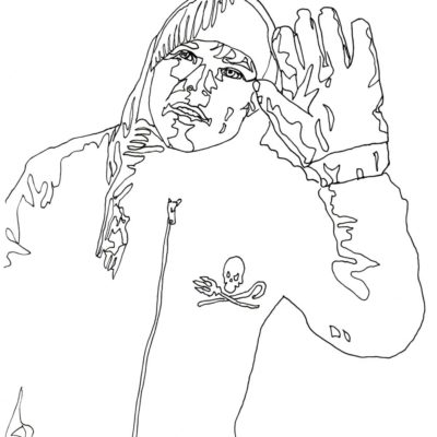 Line drawing of a man waving his hand in an oversized glove