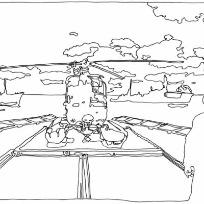 Drawing of the helicopter deck and the pilot watching the ships in pursuit