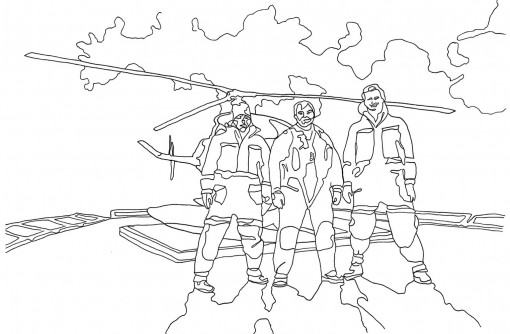 Drawing of a trio standing in front of a helicopter
