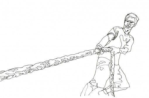 Line drawing of a man pulling a thick rope, artwork by Anastasia Parmson