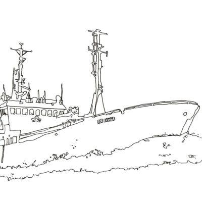 Line drawing of the Sea Shepherd ship Bob Barker by Anastasia Parmson