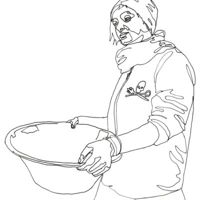 Line drawing of a girl holding a big bowl, artwork by Anastasia Parmson