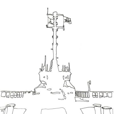 Line drawing of the Bob Barker's silhouette with mast and flag