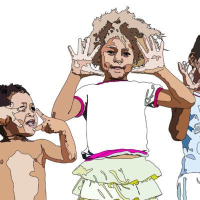Line drawing of three kids posing