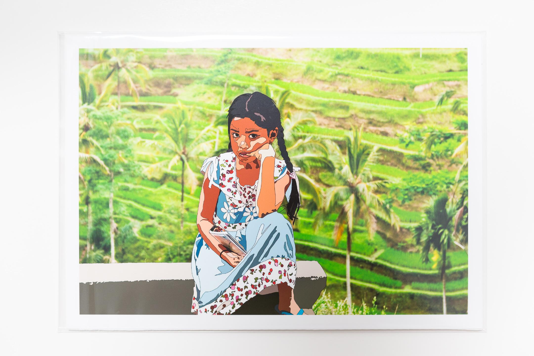 girl in bali art print packaged