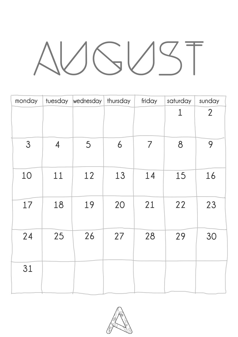 Minimalist Calendar 2016 : Minimalist printable calendar anastasia parmson