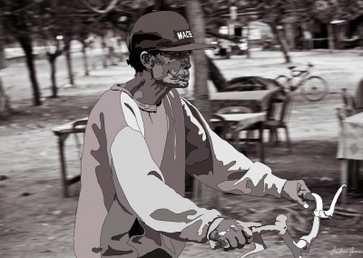 Untitled (Old Man on Bike) photo-drawing