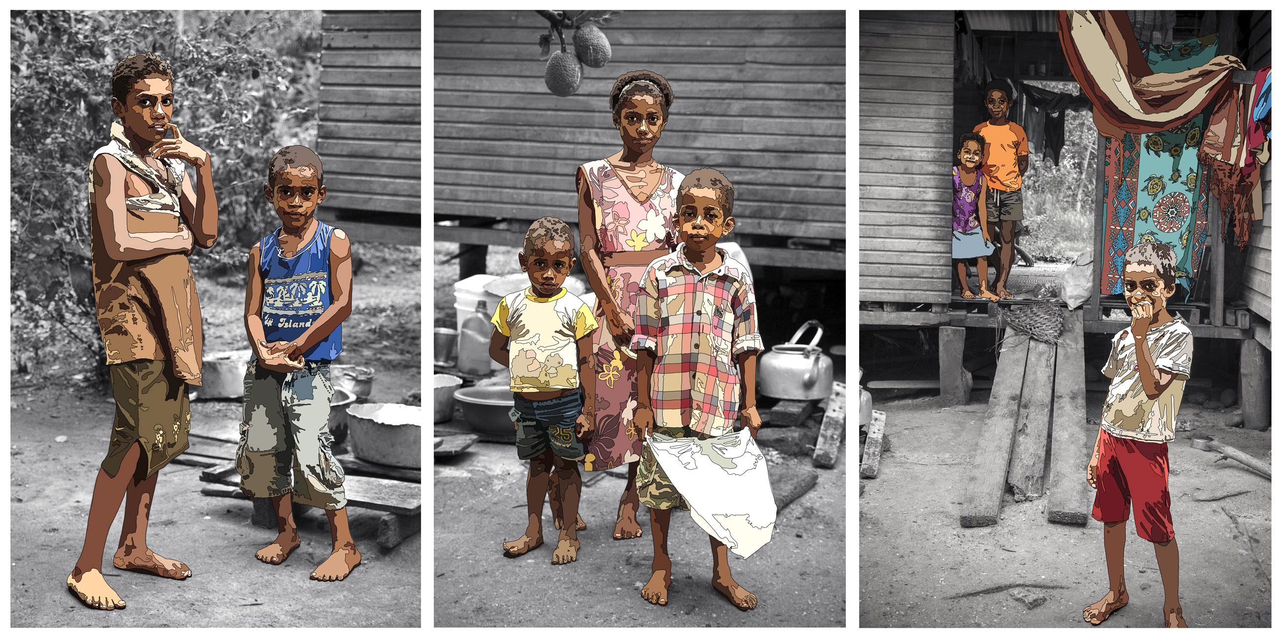 Nakasa Village Triptych by Anastasia Parmson
