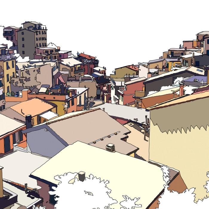 drawing of Riomaggiore the Italian town in Cinque Terre