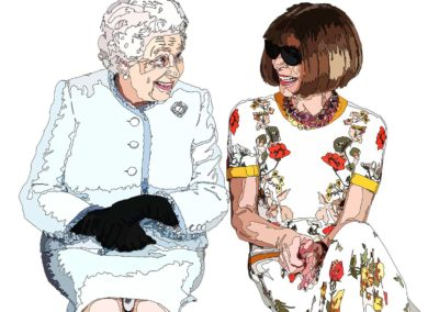 drawing of Queen Elizabeth and Anna Wintour