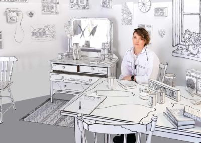Anastasia Parmson visual artist sitting in her drawing installation room